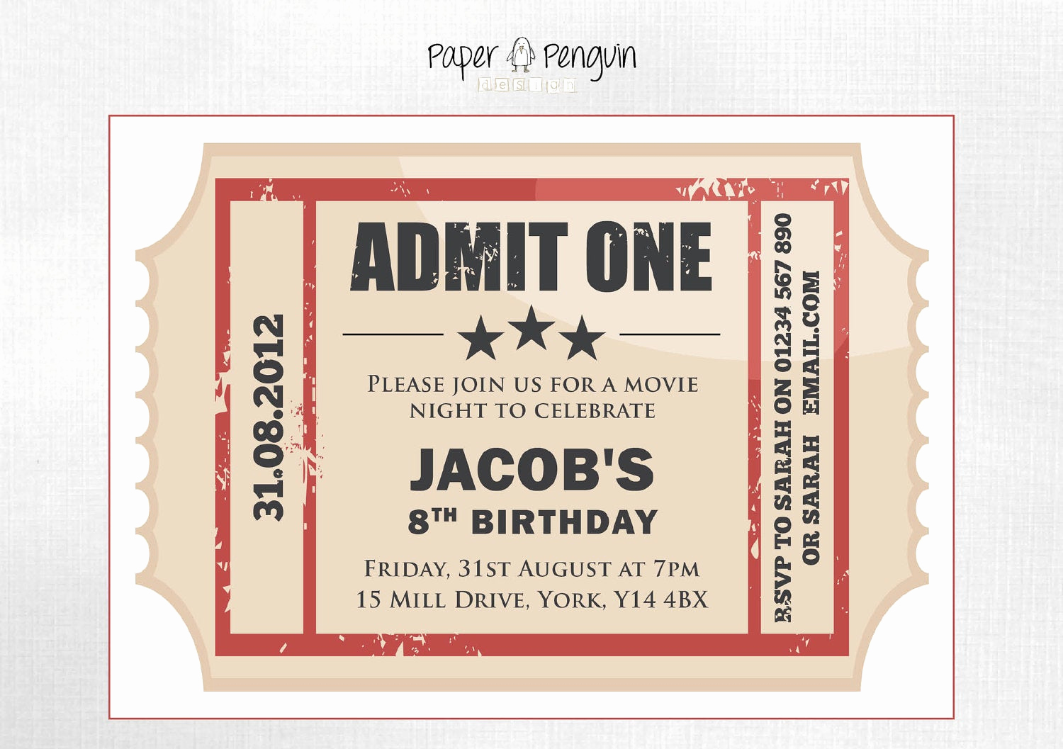 Movie Ticket Invitation Template Free Beautiful Personalized Kid S Movie Ticket Party by Paperpenguindesign