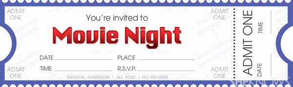 Movie Ticket Invitation Template Free Elegant Make Your Own Movie Night Tickets