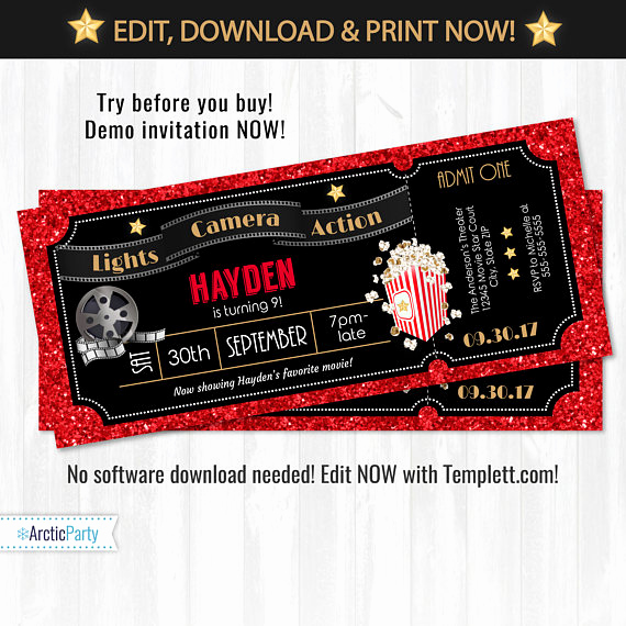 Movie Ticket Invitation Template Free Fresh Movie Ticket Invitations Movie Party Invitations Hollywood