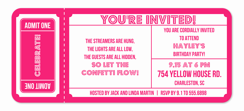 Movie Ticket Invitation Template Free Inspirational Superstar Ticket Birthday Invitations by Invitation