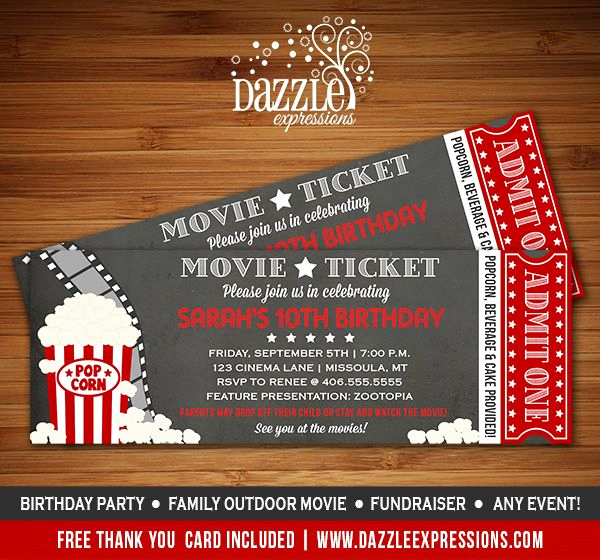 Movie Ticket Invitation Template Free Lovely Printable Chalkboard Movie Ticket Birthday Invitation