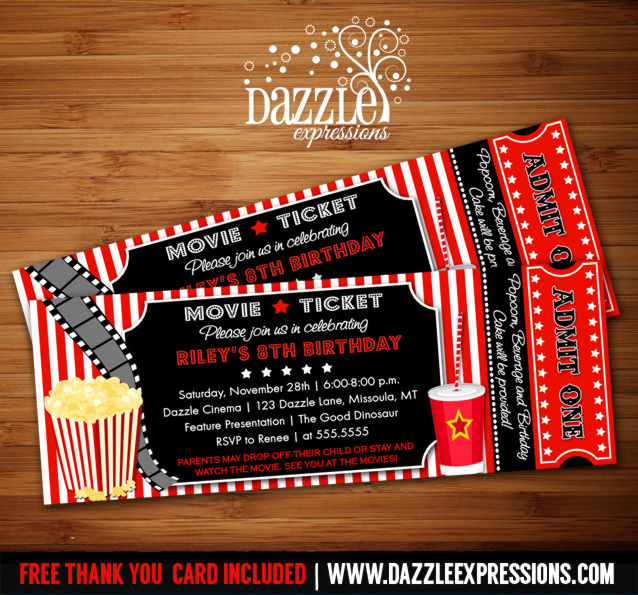 Movie Ticket Invitation Template Free Luxury Printable Movie Ticket Birthday Invitation Movie Night
