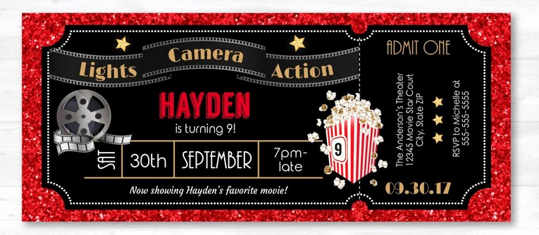 free printable movie ticket party invitation template