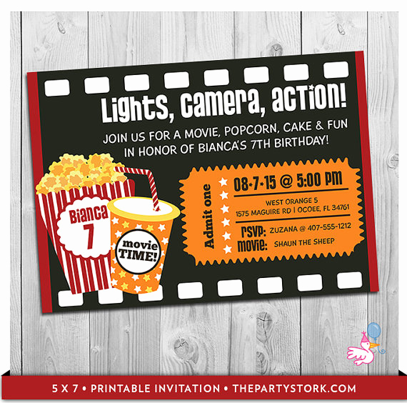 Movie Ticket Invitation Template Fresh Movie Party Invitation Printable Boys or Girls Movie Invite