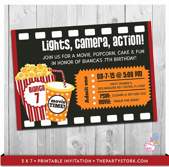 Movie Ticket Invitation Template Fresh Movie Party Invitation Printable Boys or Girls Movie Invite