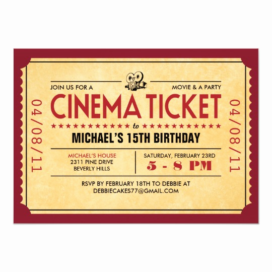 Movie Ticket Invitation Template Fresh Retro Movie Ticket Invitations