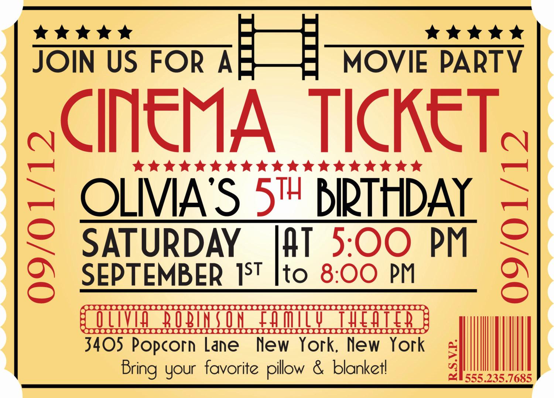 Movie Ticket Invitation Template Inspirational Movie Ticket Birthday Invitations Ideas – Bagvania Free