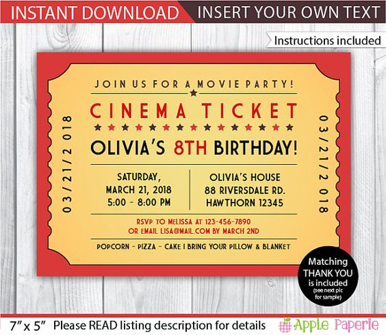 Movie Ticket Invitation Template Inspirational Pinterest • the World's Catalog Of Ideas