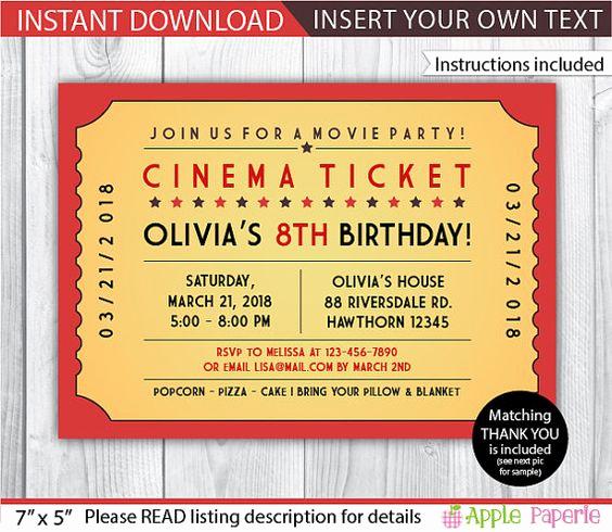 Movie Ticket Invitation Template Inspirational Pinterest • the World's Catalog Of Ideas