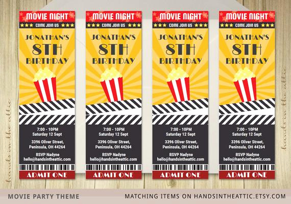 Movie Ticket Invitation Template Lovely Movie Ticket Invite Invitation Ticket Film by Handsintheattic