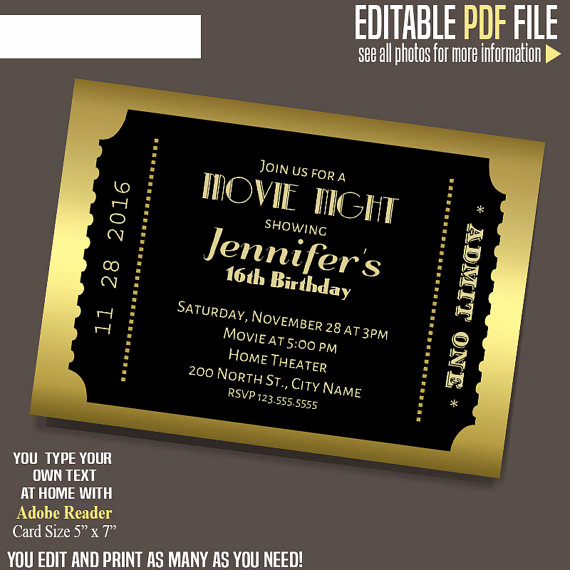 Movie Ticket Invitation Template New Movie Ticket Invitation Gold and Black Ticket Template