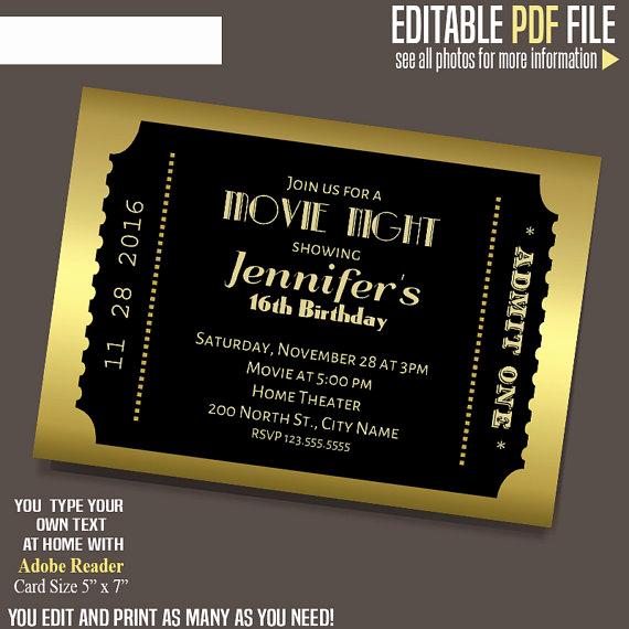 Movie Ticket Invitation Template New Movie Ticket Invitation Gold and Black Ticket Template