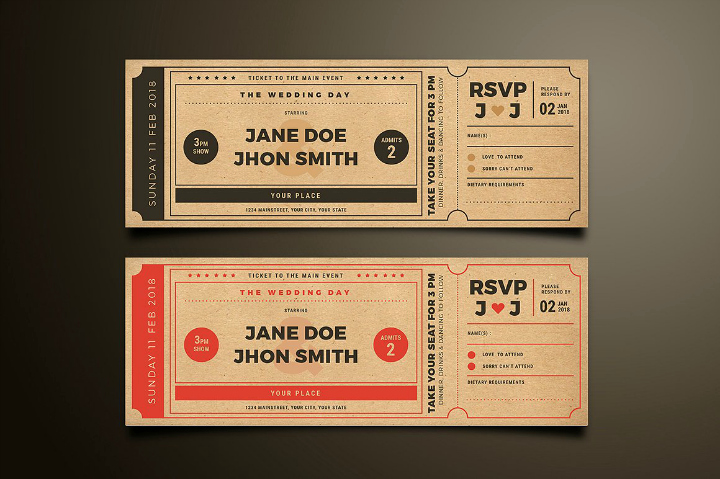 Movie Ticket Invitation Template Unique 20 Elegant Wedding Invitation Templates Word Psd Ai