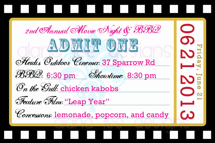 Movie Ticket Invitation Template Unique Alana Lee Designs Custom Products with Personality