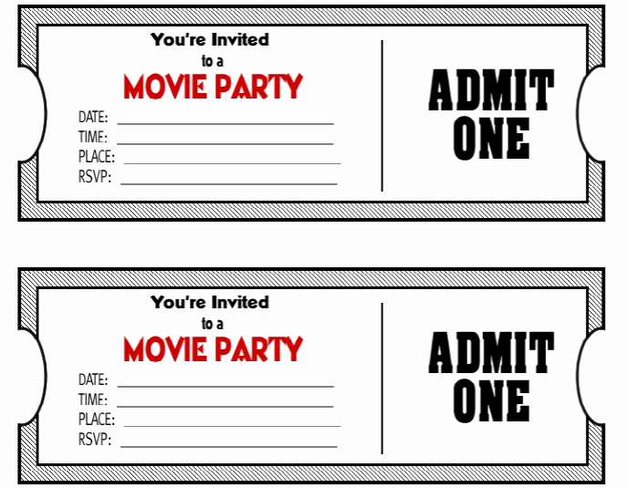 Movie Ticket Party Invitation Elegant 50 Free Raffle & Movie Ticket Templates Templatehub