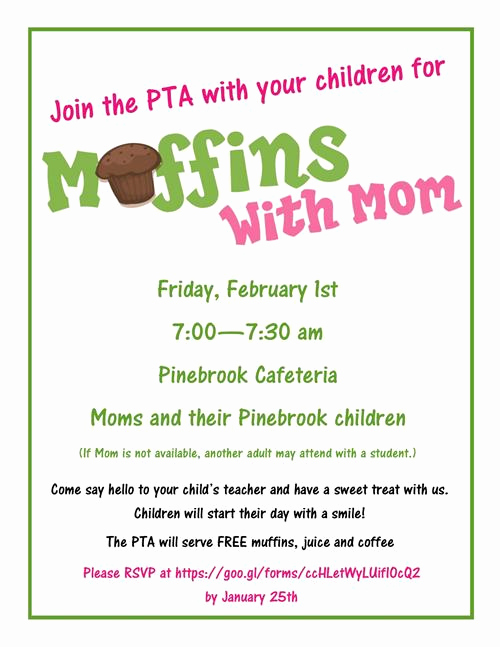 Muffins with Mom Invitation Awesome Pta Muffins with Moms
