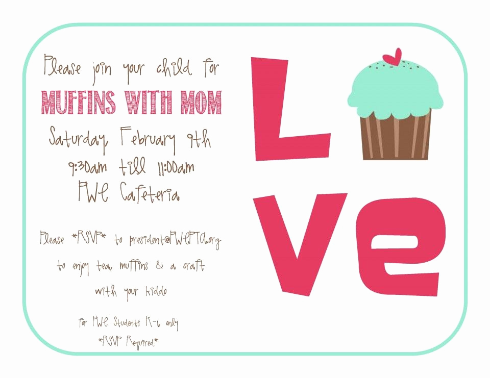 Muffins with Mom Invitation Beautiful Muffins for Mom Google Search
