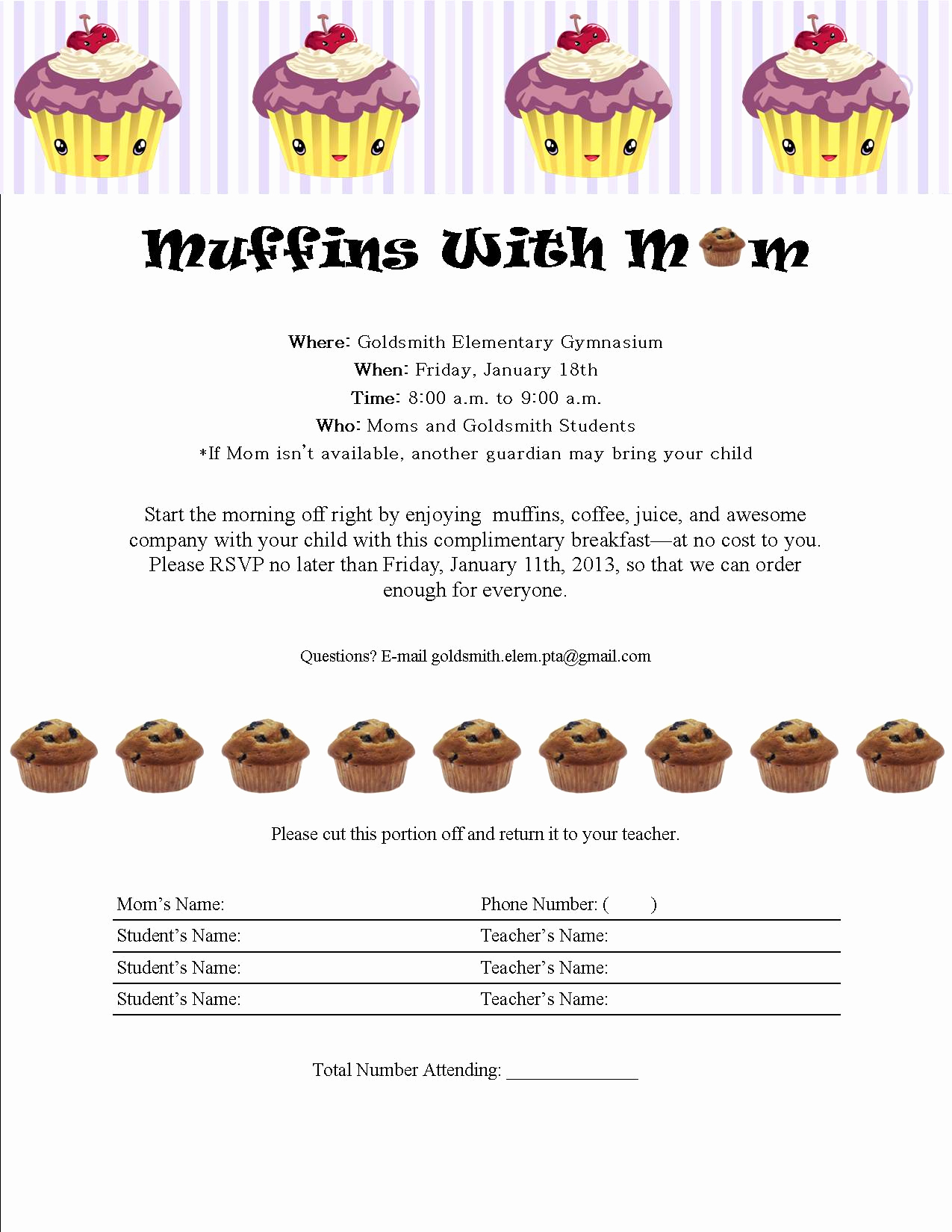 Muffins with Mom Invitation Beautiful Muffins with Mom