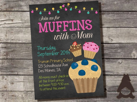 Muffins with Mom Invitation Fresh Muffins with Mom Invitation Preschool Daycare by