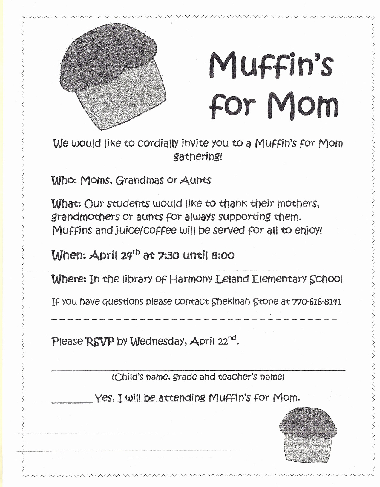 Muffins with Mom Invitation Lovely Harmony Leland Elementary School Pta