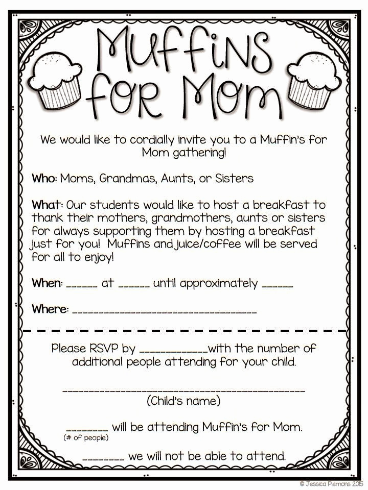 Muffins with Mom Invitation New Muffins for Moms