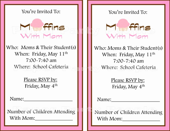 Muffins with Mom Invitation Unique Muffins with Mom Printable Invitation Diy Pink & Brown