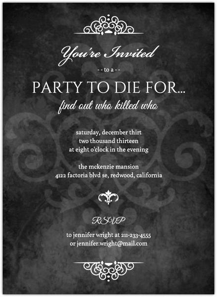 Murder Mystery Dinner Invitation Awesome Murder Mystery Black Dinner Party Invitation
