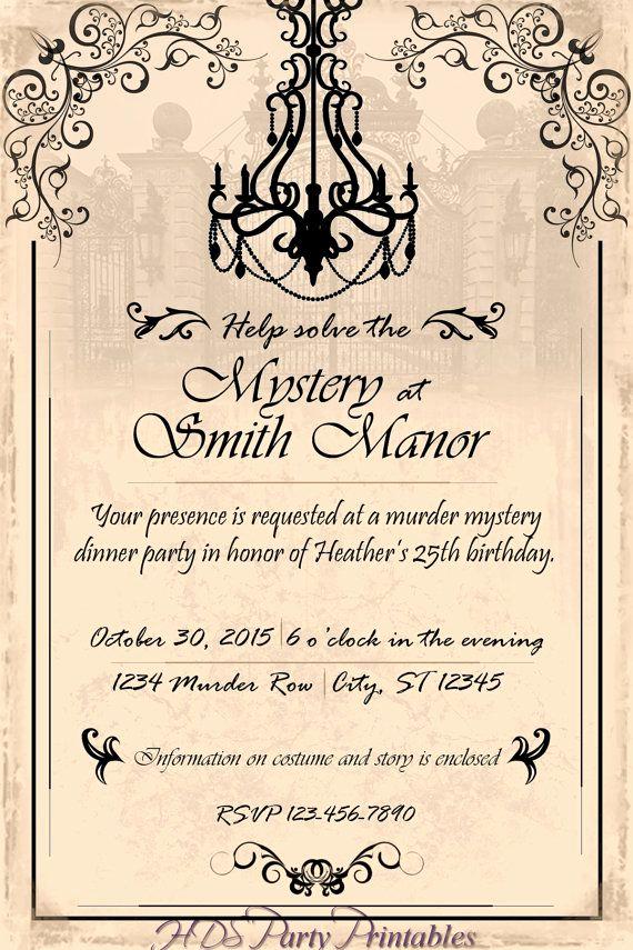Murder Mystery Dinner Invitation Elegant Murder Mystery Chandelier Dinner Party by