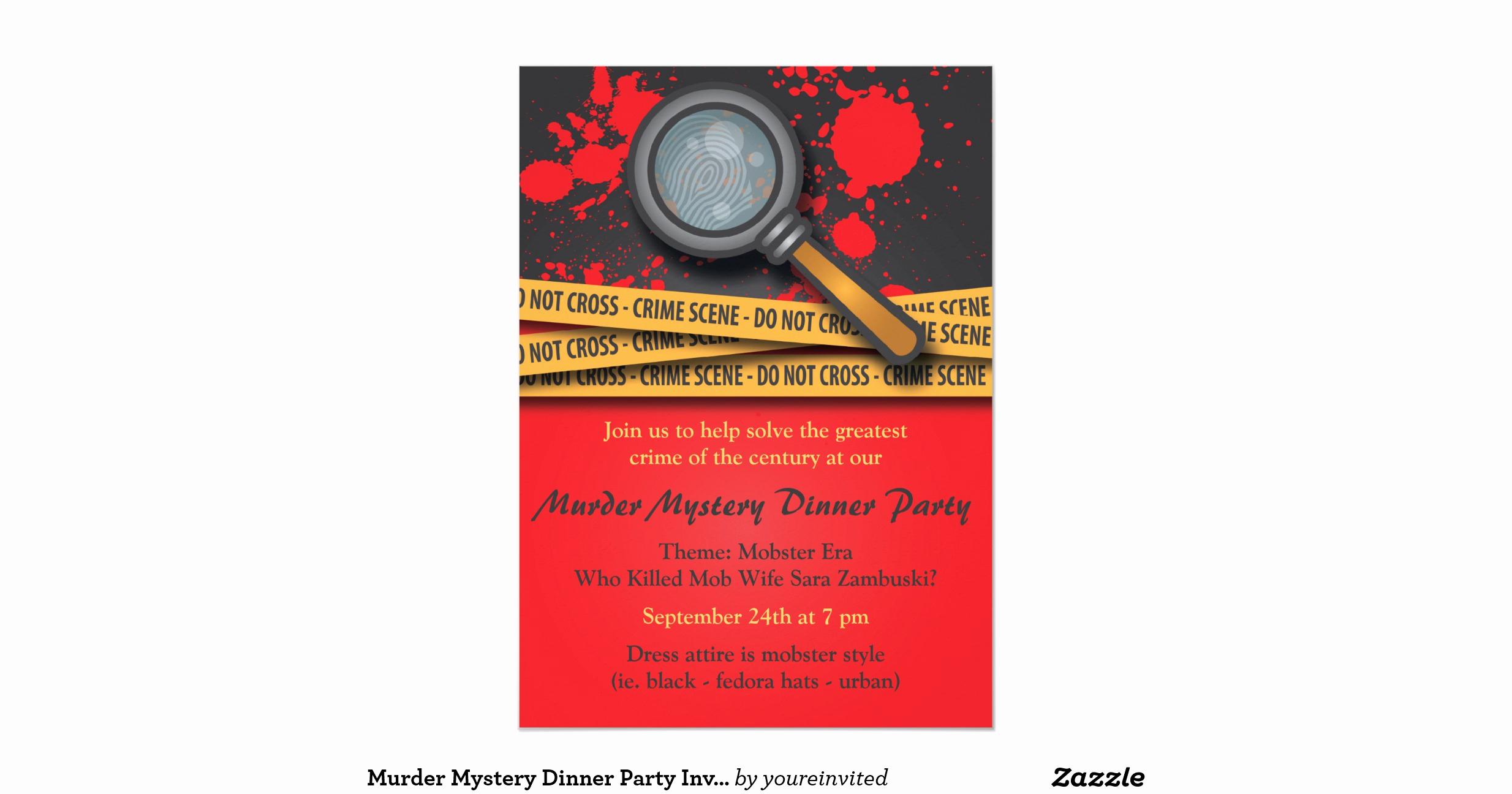 Murder Mystery Dinner Invitation Elegant Murder Mystery Dinner Party Invitation