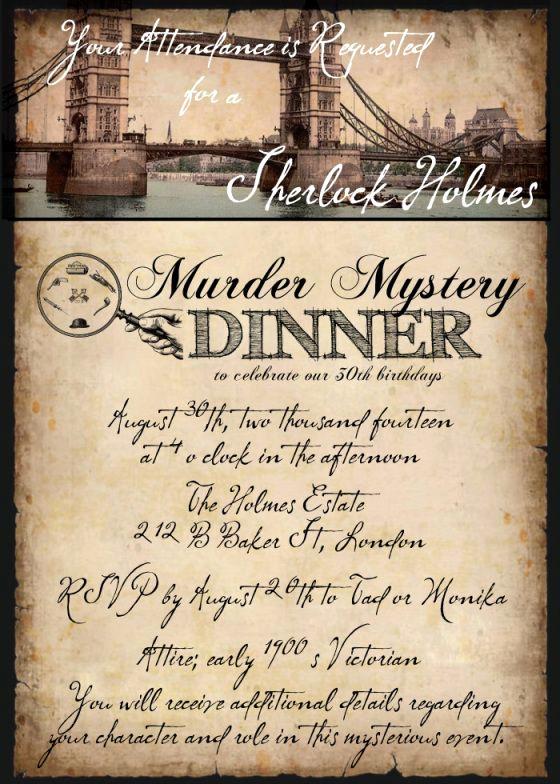 Murder Mystery Dinner Invitation Elegant Sherlock Holmes Murder Mystery Dinner
