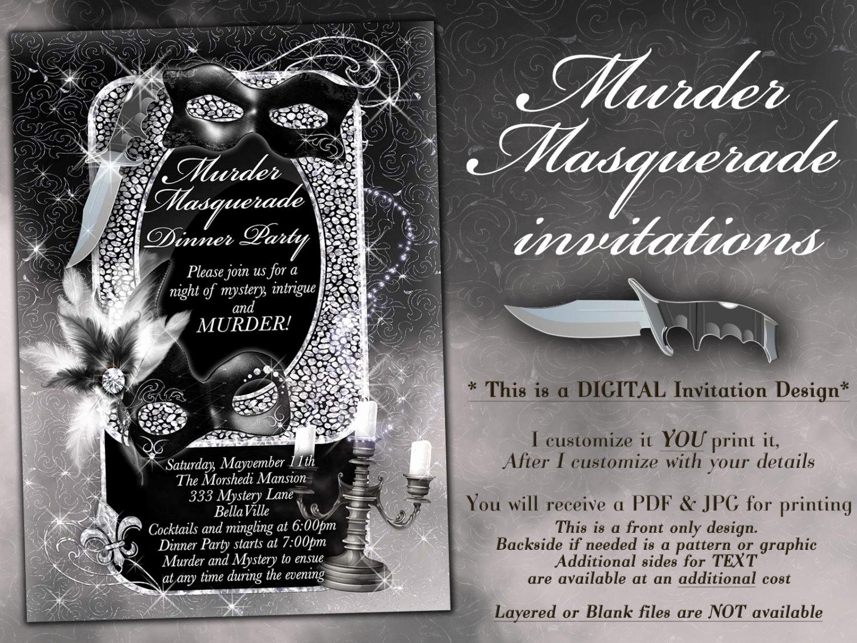Murder Mystery Dinner Invitation Fresh Masquerade Murder Mystery Party Invitation Murder Mystery
