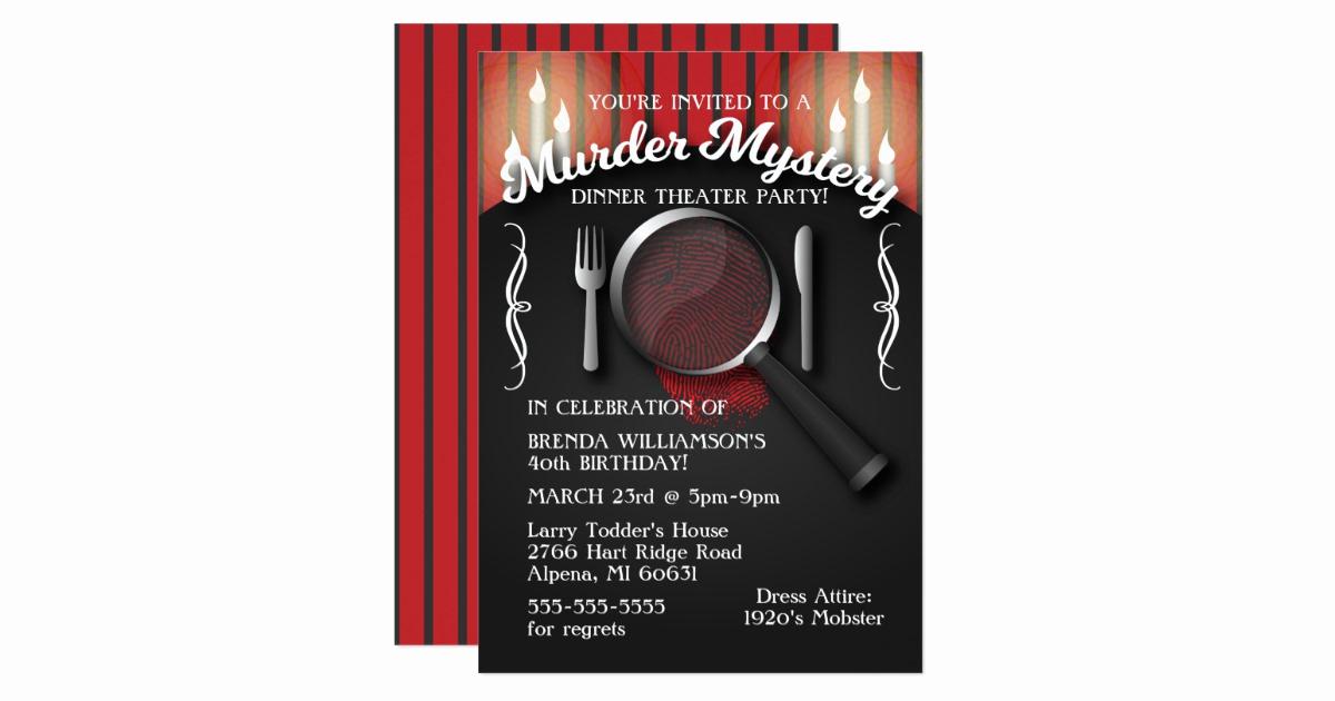 Murder Mystery Dinner Invitation Fresh Murder Mystery Dinner theatre Party Invitation