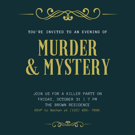 Murder Mystery Dinner Invitation Inspirational Green and Gold Flourish Elegant Murder Mystery Invitation