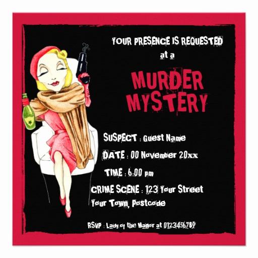 Murder Mystery Dinner Invitation Luxury Femme Fatale Black Murder Mystery Invitation
