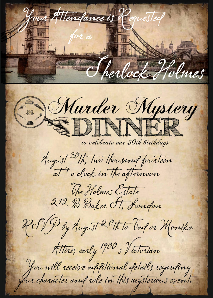 Murder Mystery Dinner Invitation New Sherlock Holmes Murder Mystery Dinner