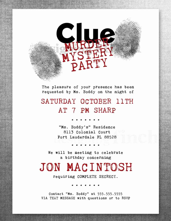 Murder Mystery Invitation Template Free Best Of Clue Birthday Invitation Murder Mystery Party Customizable