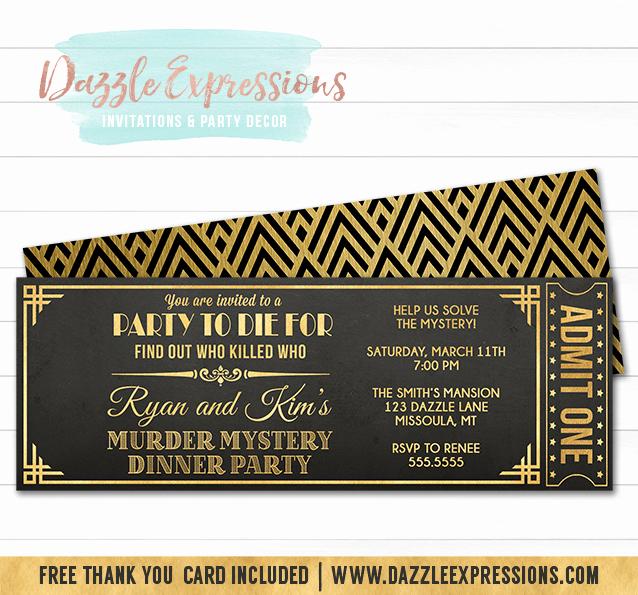 Murder Mystery Invitation Template Free Luxury Printable Murder Mystery Dinner Party Ticket Invitation