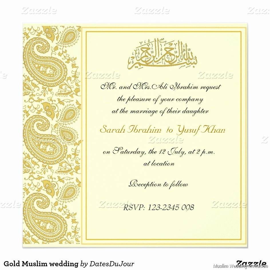 Muslim Wedding Invitation Wording Luxury Muslim Wedding Invitations Templates