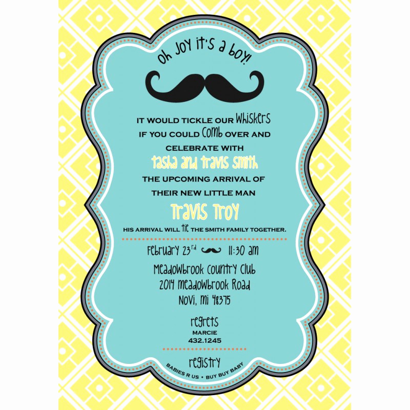 Mustache Baby Shower Invitation Awesome Little Man Mustache Baby Shower Printable Invitation