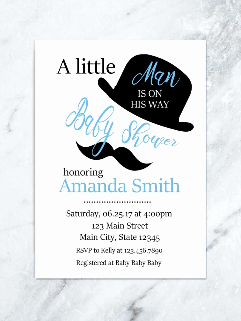 Mustache Baby Shower Invitation Beautiful Mustache Baby Shower Invitation Little Man is On His Way