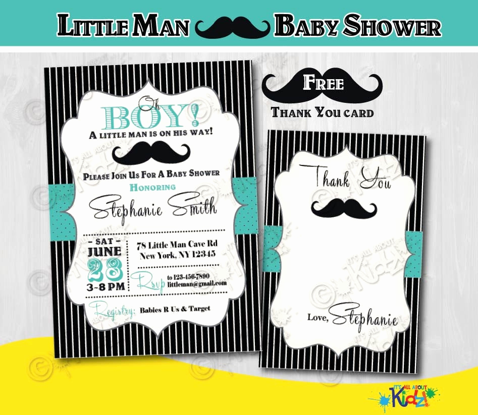 Mustache Baby Shower Invitation Elegant Mustache Baby Shower Invitation Little Man Baby Shower