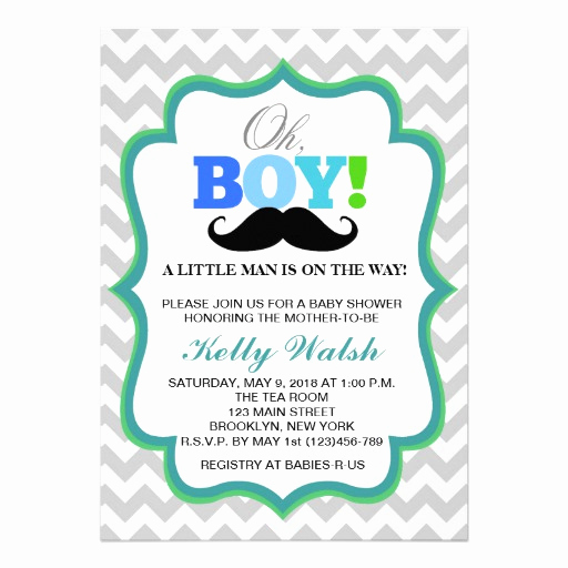 "Mustache Baby Shower Invitation Elegant Oh Boy Mustache Baby Shower Invitations Chevron 5"" X 7"