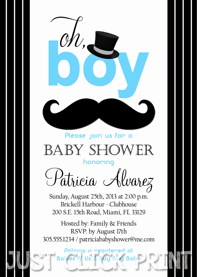 Mustache Baby Shower Invitation Fresh Classic Mustache Bash Baby Shower Invitation Printable
