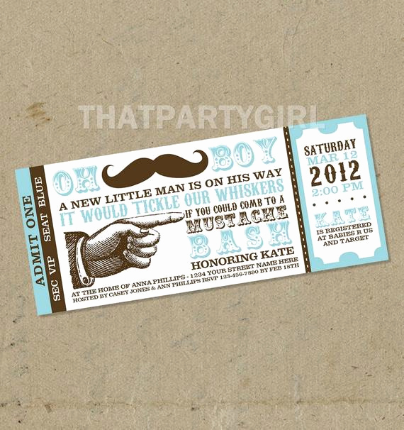 Mustache Baby Shower Invitation Luxury Mustache Bash Baby Shower Party Ticket Invitations Favors