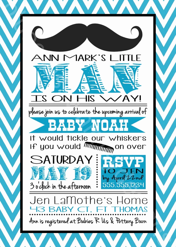 Mustache Baby Shower Invitation Templates Awesome Mustache Little Man Baby Shower Invitation for A Baby Boy