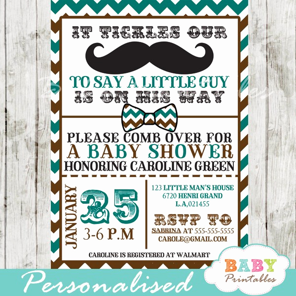 Mustache Baby Shower Invitation Templates Beautiful Blue Brown Mustache Baby Shower Invitation Card D115