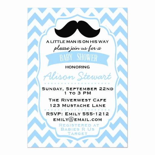 Mustache Baby Shower Invitation Templates Fresh Little Man Mustache Chevron Baby Shower Invitation
