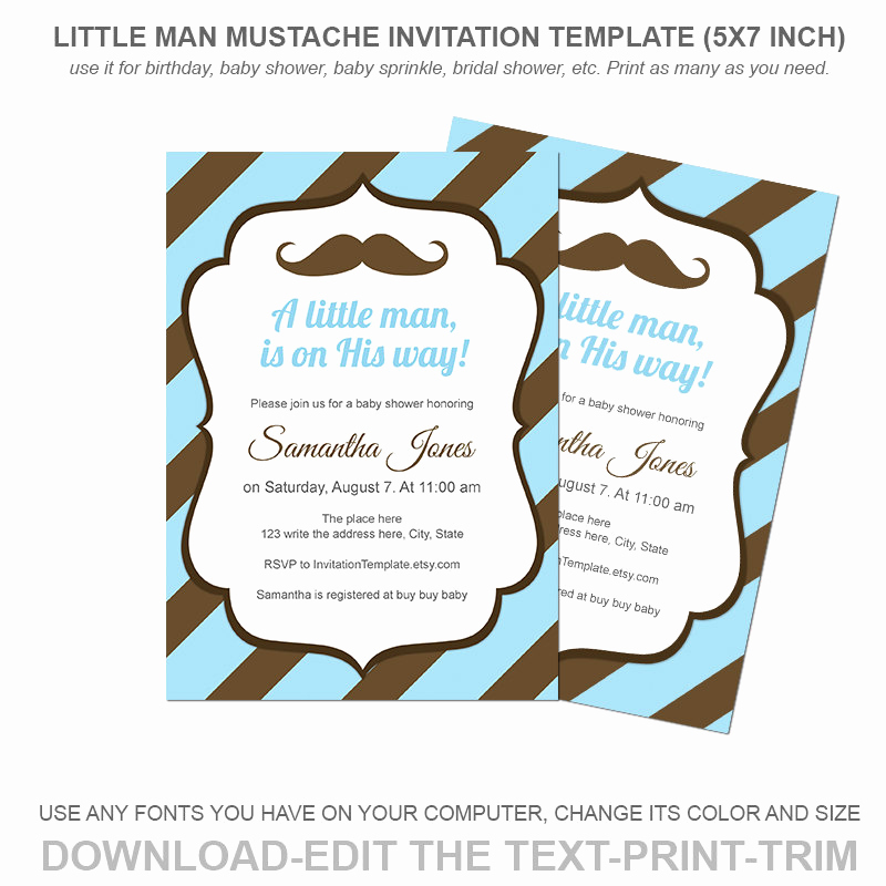 Mustache Baby Shower Invitation Templates Inspirational Little Man Mustache Invitation Template Baby by