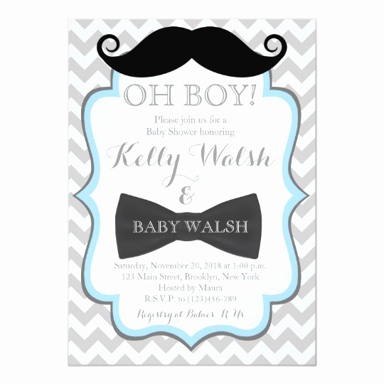 Mustache Baby Shower Invitation Templates Inspirational Oh Boy Mustache Baby Shower Invitations Chevron