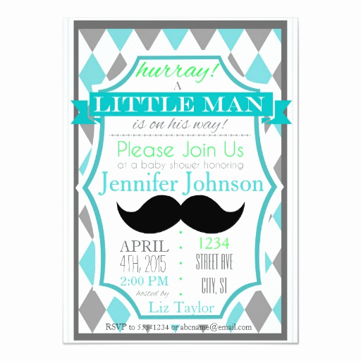 Mustache Baby Shower Invitation Templates Luxury Little Man Mustache Baby Shower Invitations